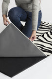 Machine Washable 2.5'x7' Zebra Black Rug Rug