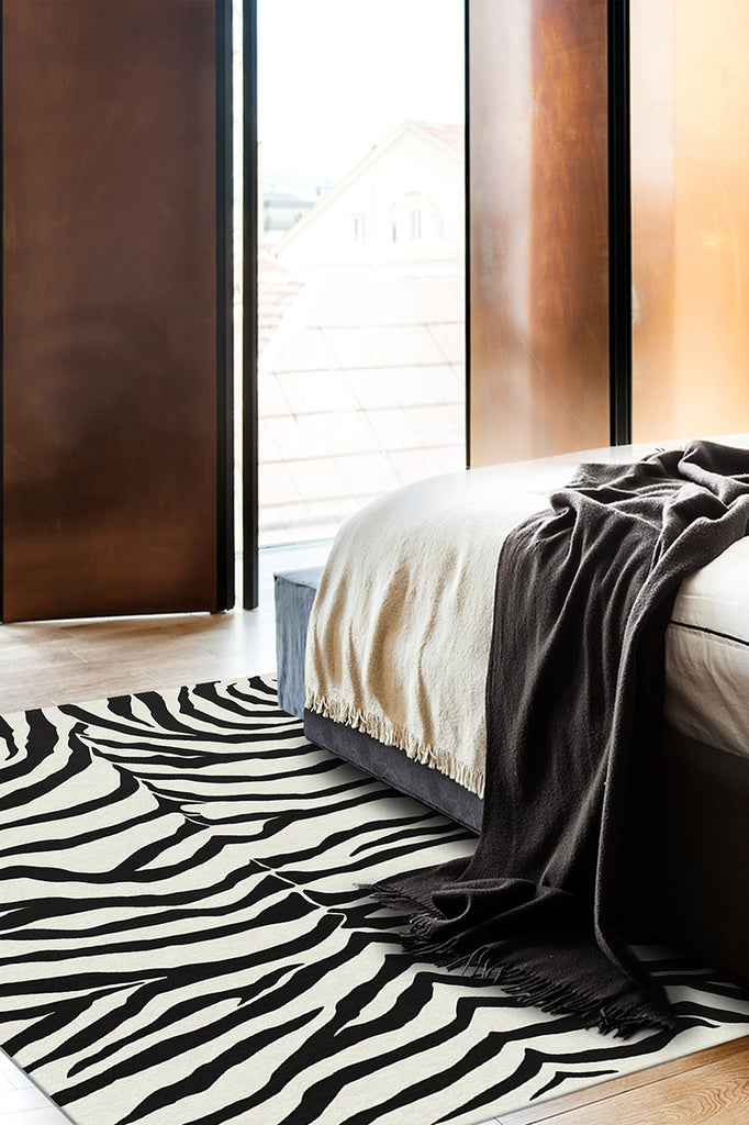Machine Washable 5'x7' Zebra Black Rug