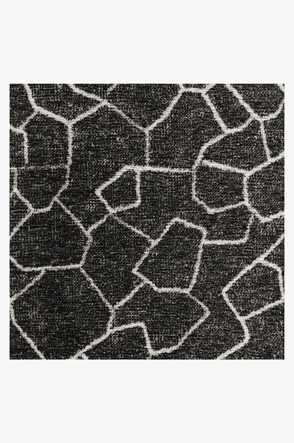 Machine Washable 2.5'x7' Ziri Black Rug