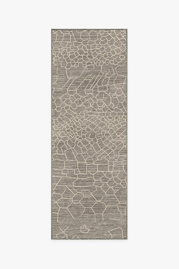 Machine Washable 2.5'x7' Ziri Warm Grey Rug