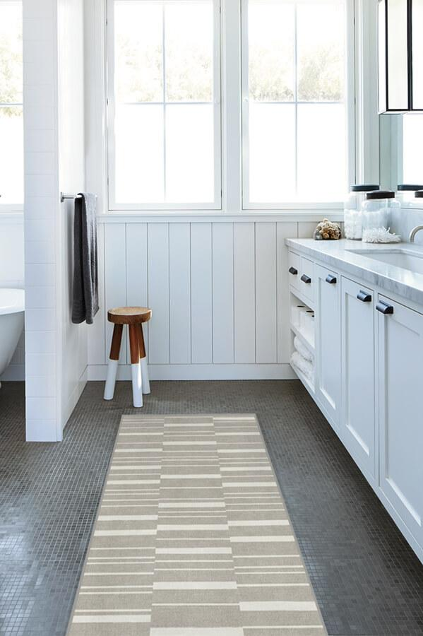 Machine Washable 2.5'x7' Broken Stripe Grey Rug