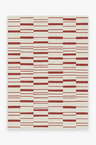 Broken Stripe Red & Green Rug