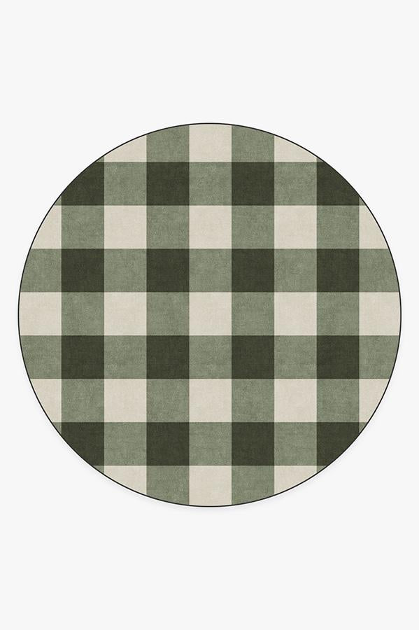 Washable Rug Cover | Buffalo Plaid Green & White Rug | Stain-Resistant | Ruggable | 8' Round Product Image