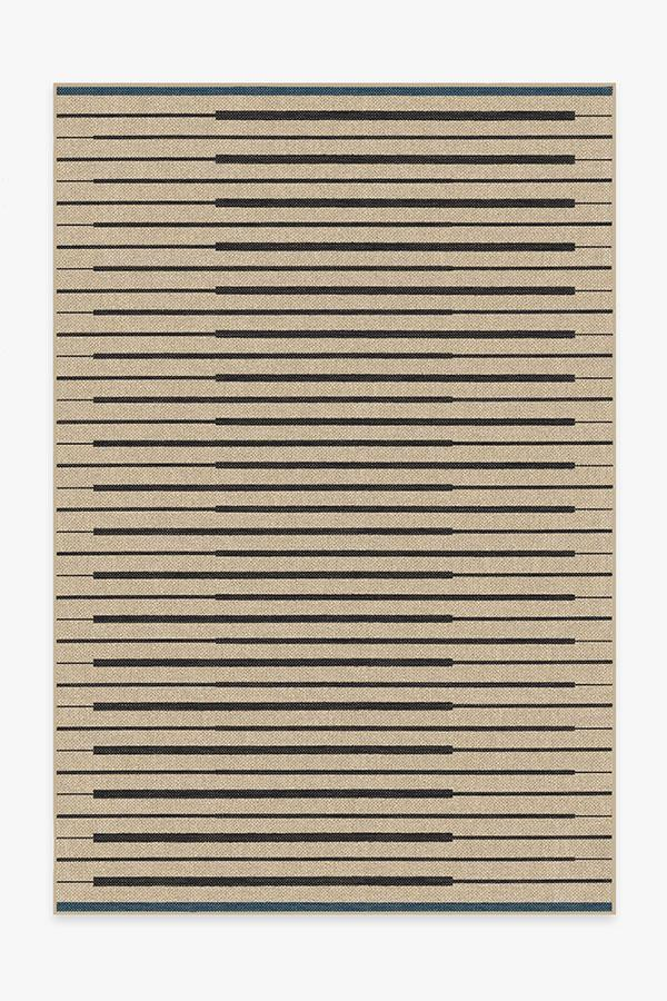 black and natural washable jute style rug