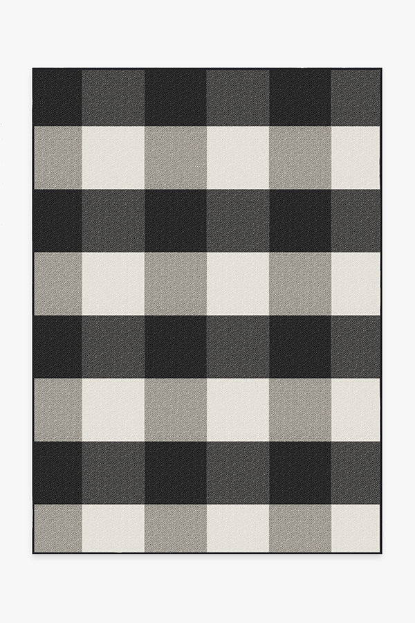 Outdoor Gingham Plaid Black & White Rug