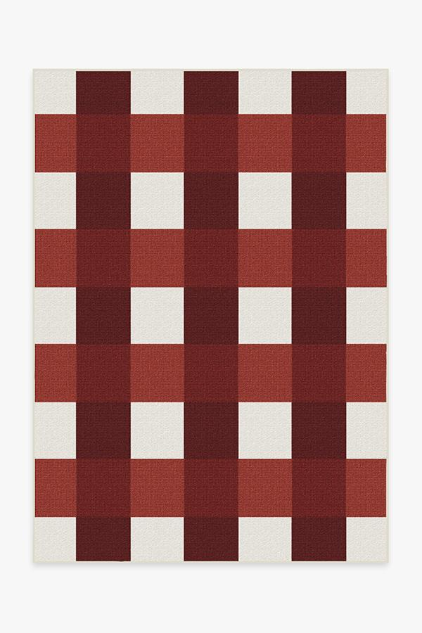 Outdoor Gingham Plaid Red & White Rug