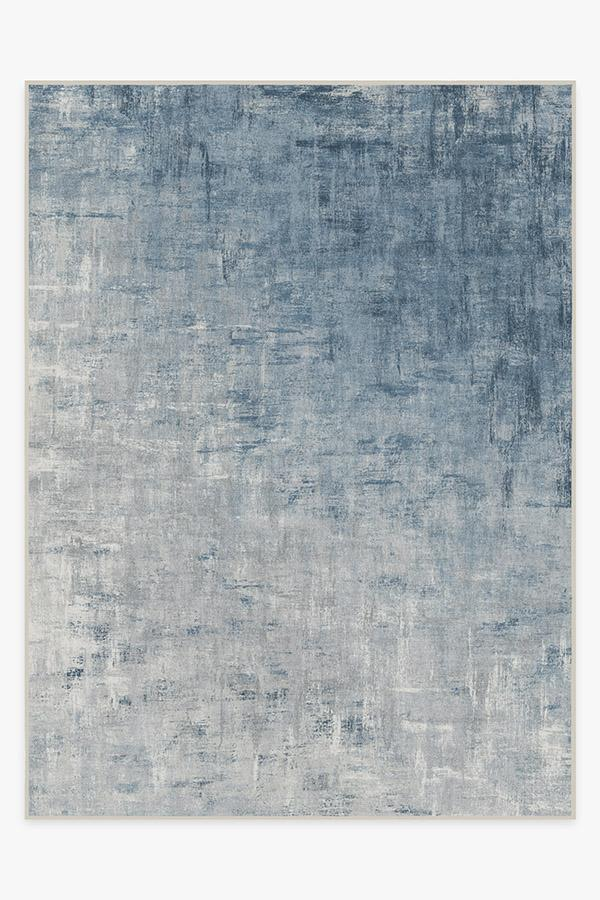 Washable Rug Cover & Pad | Impasto Slate Blue Rug | Stain-Resistant | Ruggable | 9'x12'