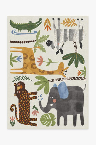 Jungle Safari Black & White Rug