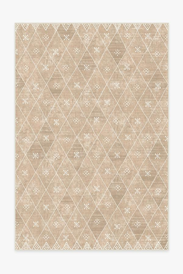 Washable Rug Cover & Pad | Kavi Diamond Rose Gold Rug | Stain-Resistant | Ruggable | 6'x9'