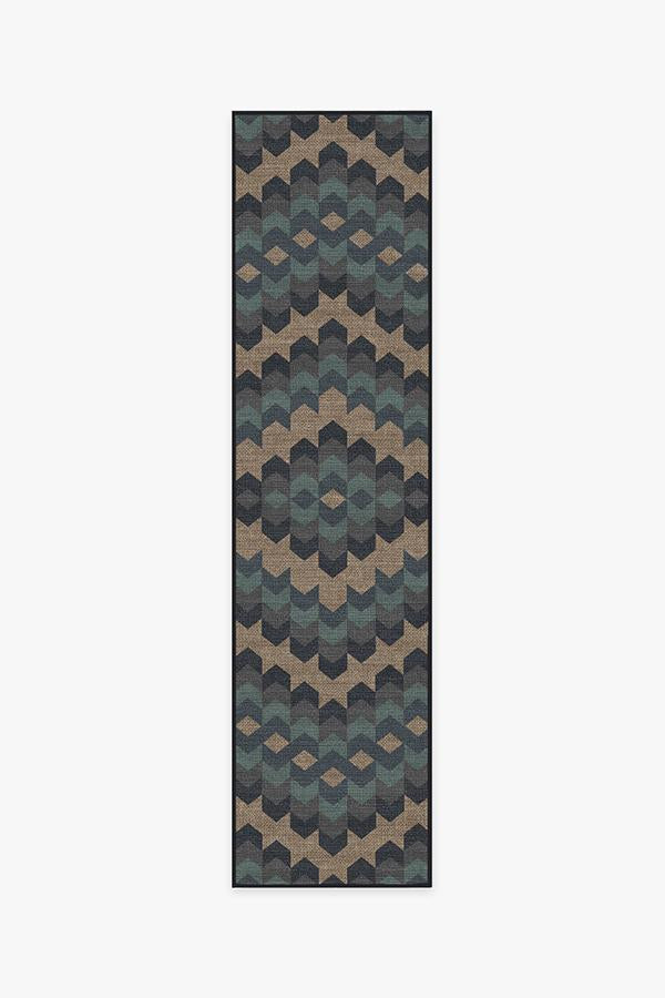Washable Rug Cover & Pad | Kishale Lake Forest Blue Re-Jute Rug | Stain-Resistant | Ruggable | 2.5'x10'