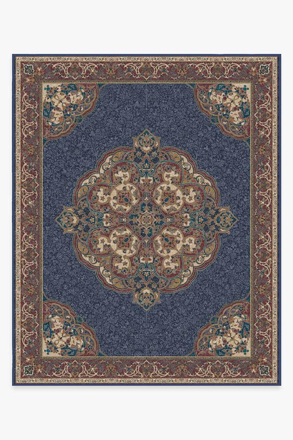 Washable Rug Cover & Pad   Mickey Persian Sapphire Rug   Stain-Resistant   Ruggable   8'x10'