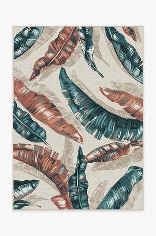 Watercolor Floral Coral Rug