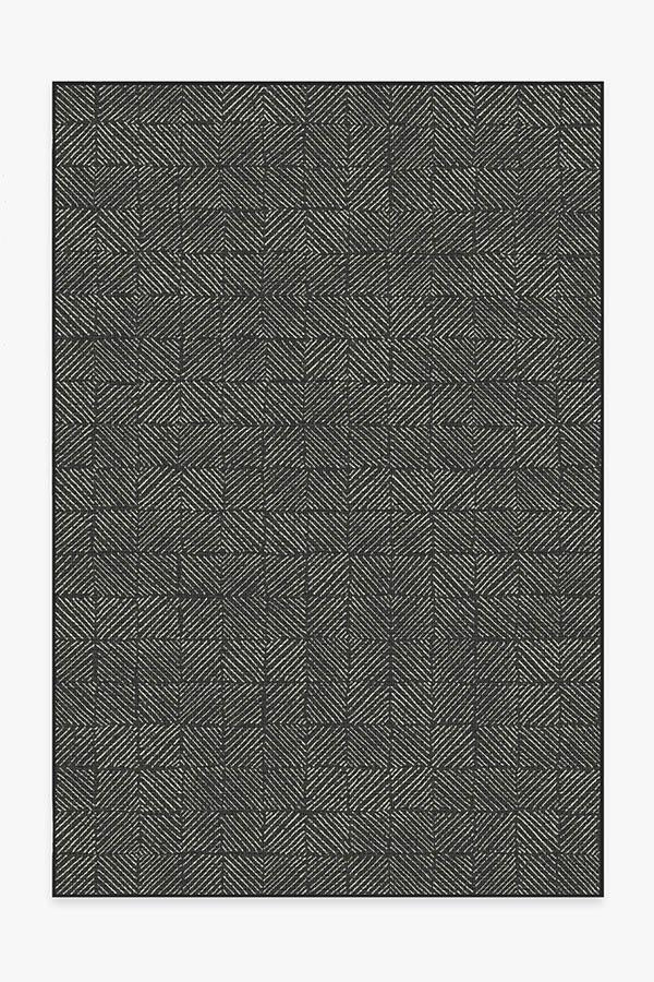 Washable Rug Cover & Pad | Outdoor Parquet Black Rug | Stain-Resistant | Ruggable | 6'x9' Product Image