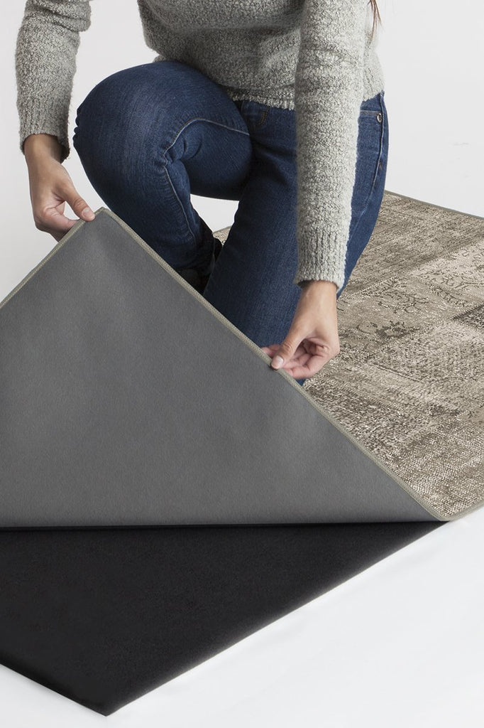 Machine Washable 6'x9' Patchwork Taupe Rug