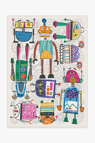 Robot Party Black & White Rug