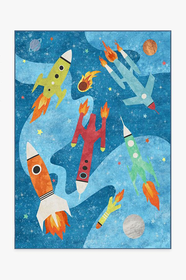 Rocket Ships Space Blue Rug