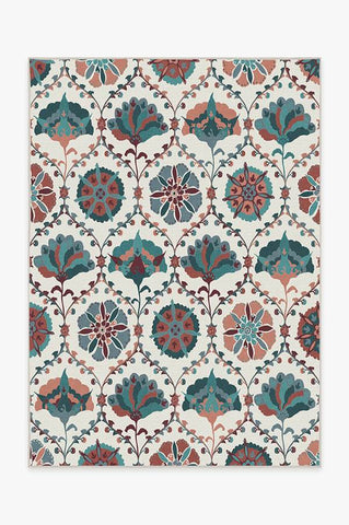 Diamond Trellis Brick Red Rug
