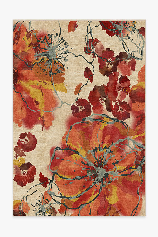Washable Rug Cover   Watercolor Floral Coral Rug   Stain-Resistant   Ruggable   6'x9'