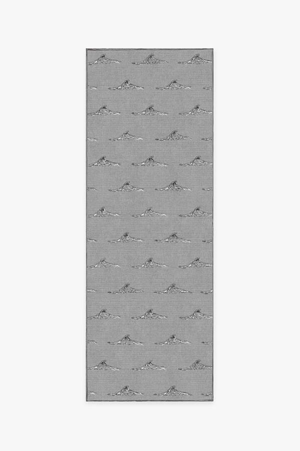 Machine Washable 2.5'x7' Whitecaps Grey Rug