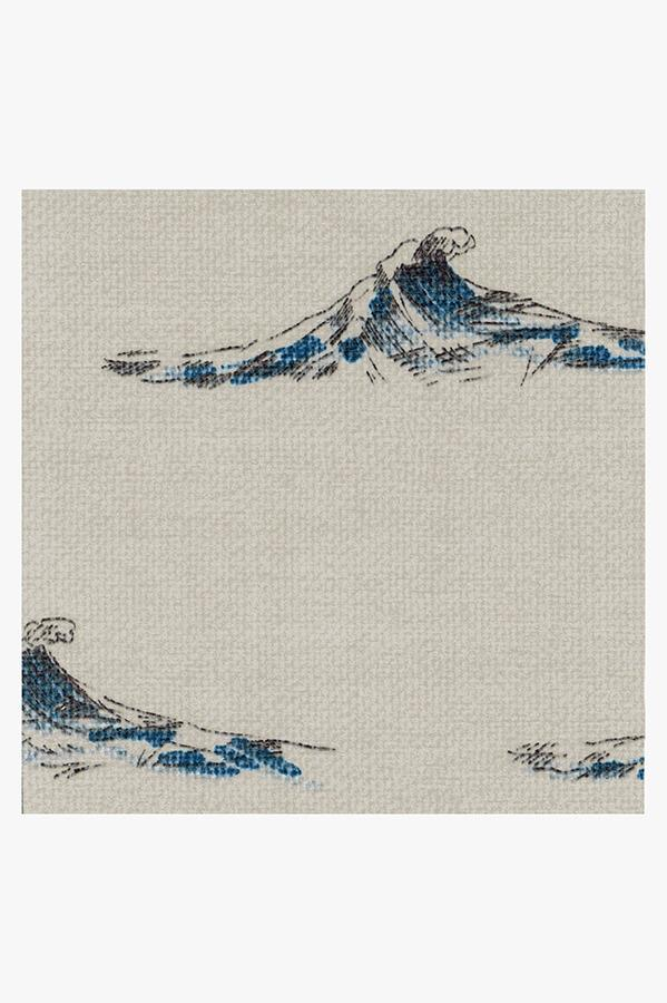 Machine Washable 2.5'x7' Whitecaps Indigo Rug