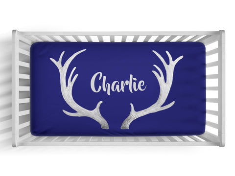 Personalized deer antler fitted crib sheet