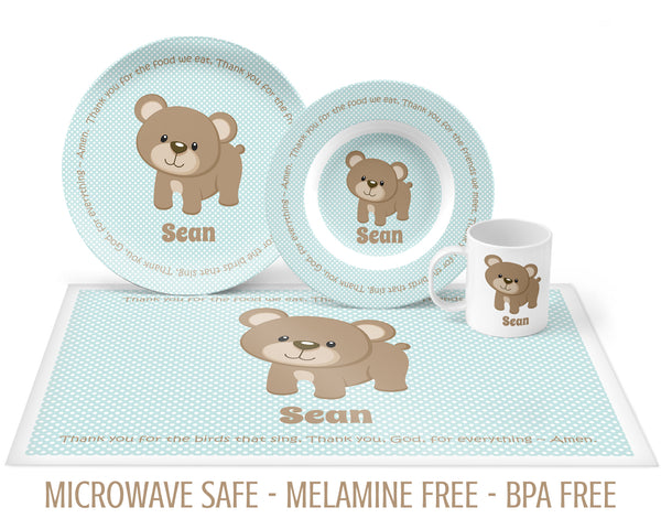 Baby Bear Tableware with Prayer