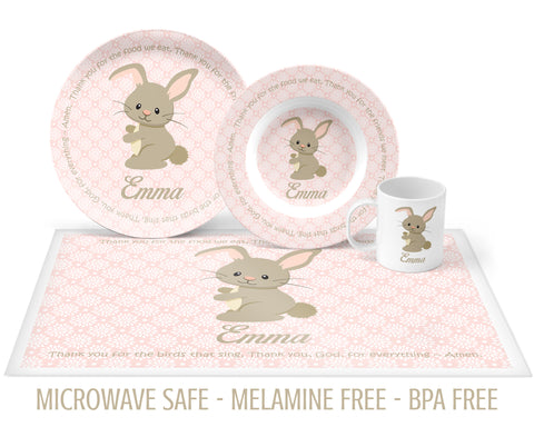 Baby Bunny Tableware with Prayer