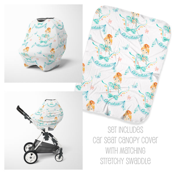 Personalized ballerina baby car seat cover and swaddle set
