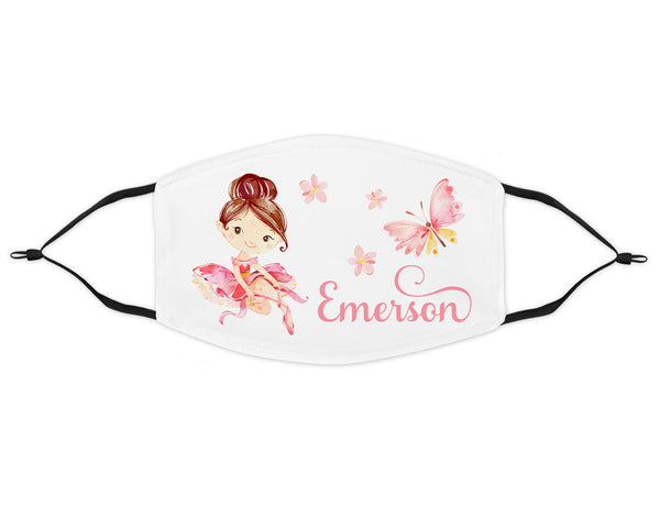Ballerina kids face mask personalized