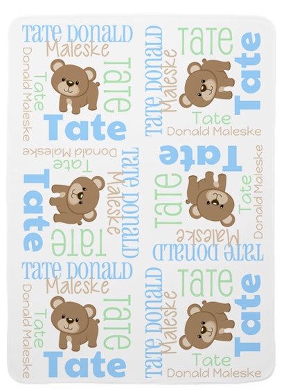 Personalized Bear Baby Blanket for Boys