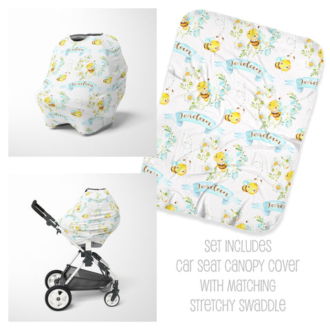 Bee Car Seat Cover & Swaddle Set