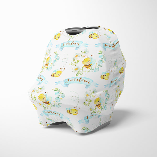 Personalized bee and daisy baby car seat canopy cover