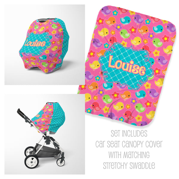 Personalized little bird car seat cover canopy and swaddle