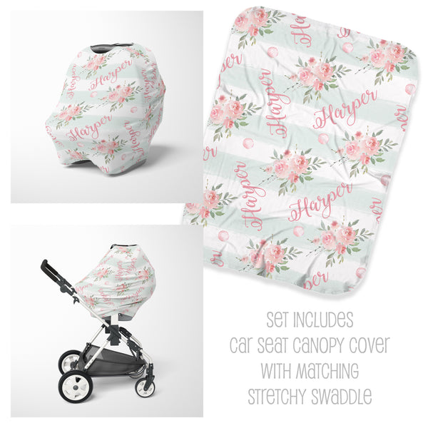 Vintage Floral Car Seat Cover & Swaddle Set