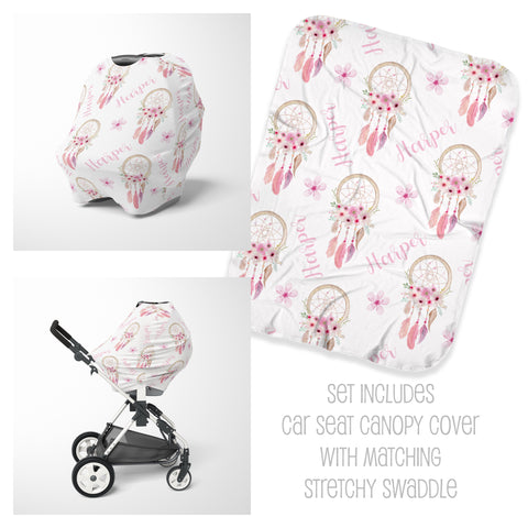 Personalized boho baby car seat cover canopy and swaddle