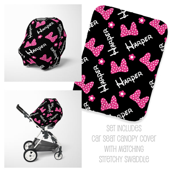 Bows & Flowers Car Seat Cover & Swaddle Set