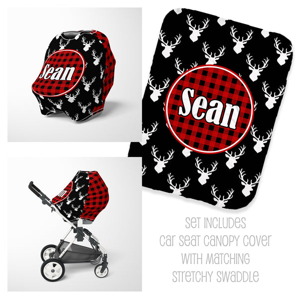 Personalized buffalo check car seat cover canopy and swaddle