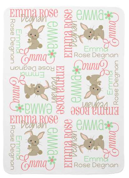 Personalized Bunny Baby Blanket for Girls