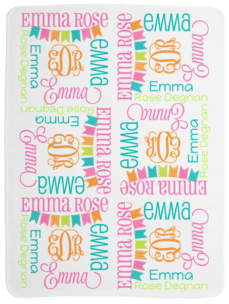 Personalized Bunting Baby Blanket for Girls