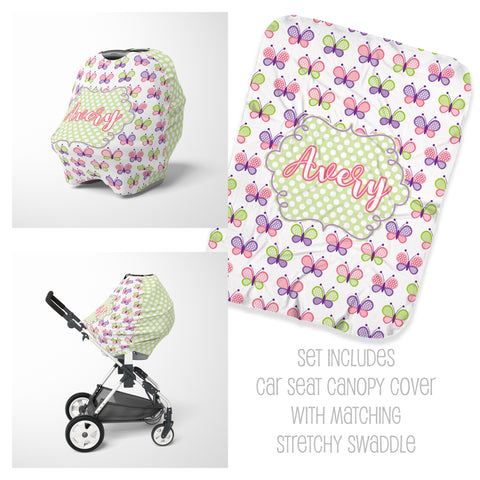 Personalized butterfly baby car seat cover canopy and swaddle