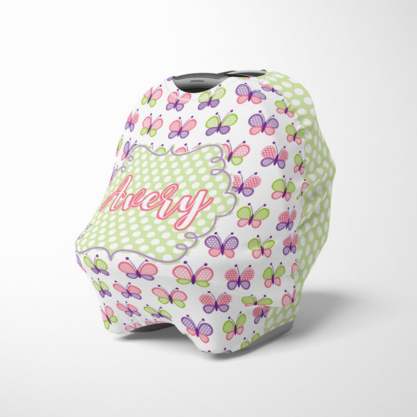 Personalized butterfly car seat cover canopy