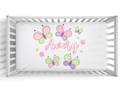 Personalized butterfly fitted crib sheet
