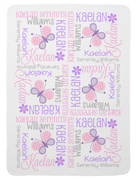 Personalized Butterfly Baby Blanket for Girls