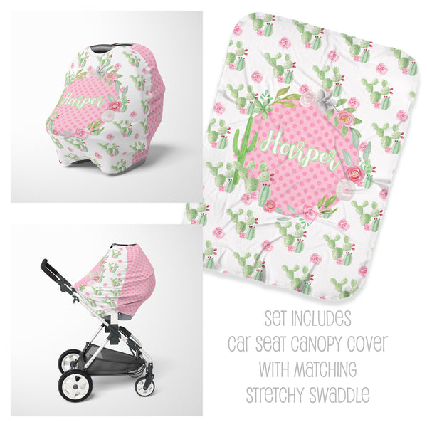 Personalized flower cactus car seat cover canopy and swaddle