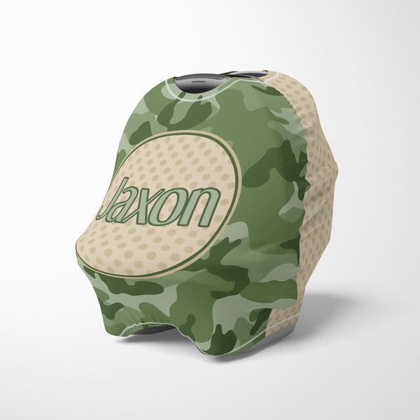 Personalized camo baby car seat canopy cover