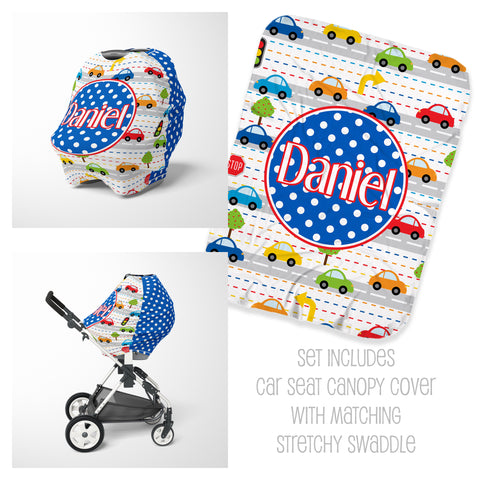 Personalized baby car seat cover canopy and swaddle for boys