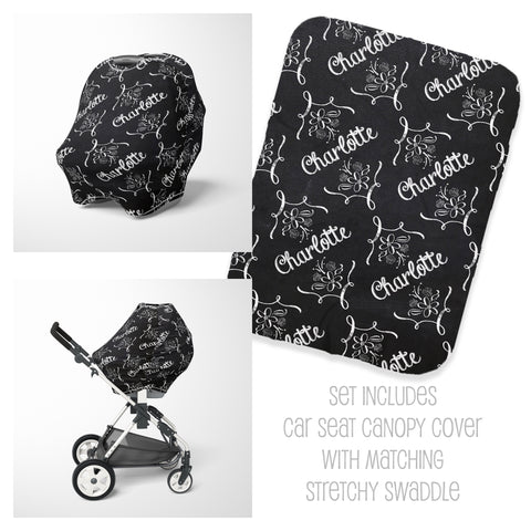 Personalized chalkboard baby car seat cover canopy and swaddle set