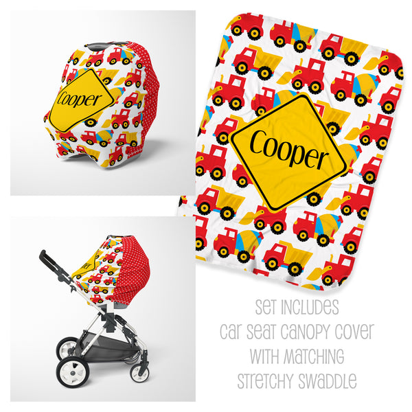 Personalized construction baby car seat cover canopy and swaddle set