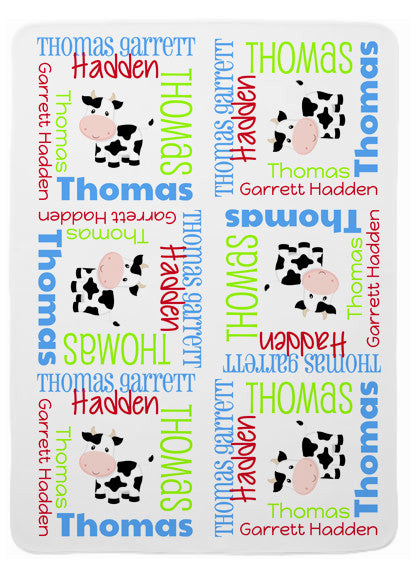 Personalized Cow Baby Blanket for Boys