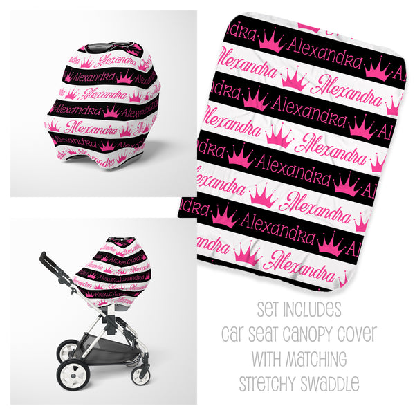 Princess Crowns Seat Cover & Swaddle Set